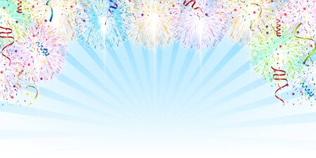 Fireworks summer sky background Illustration