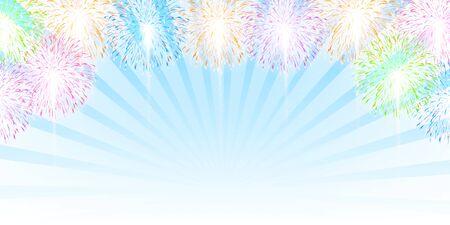 Fireworks summer sky background Ilustração