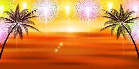 Fireworks summer sea background Illustration