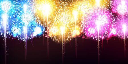 Fireworks summer sky background Ilustración de vector