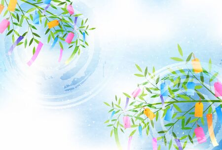 Tanabata Japanese paper ornament background Illustration