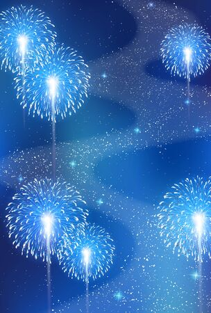 Fireworks Tanabata Milky Way Background