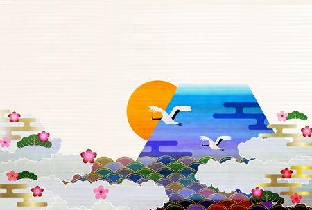 Mount Fuji Sunrise New Year's card background