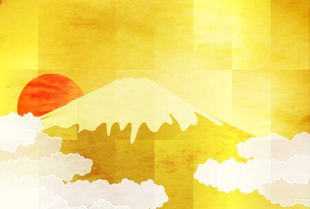 Mount fuji sunrise cloud sea background Vettoriali