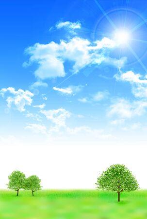 Himmelswiesenlandschaftshintergrund