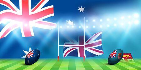Rugby national flag Australia Fiji