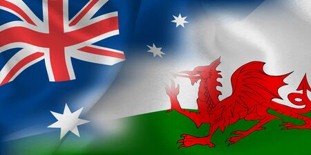 Rugby national flag Australia Wales