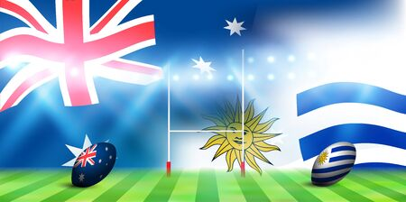 national flag rugby Australia Uruguay