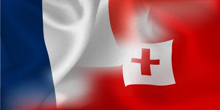 national flag rugby France Tonga Illustration