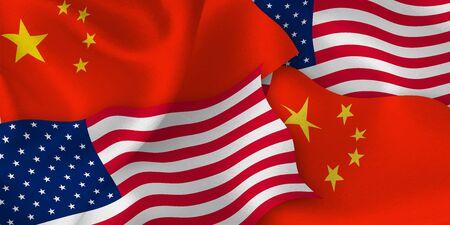 Usa china flag background Иллюстрация