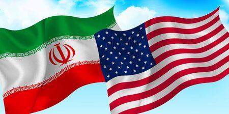 USA Iran sky flag Stock Illustratie