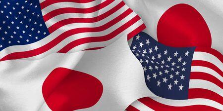 Japan american flag background