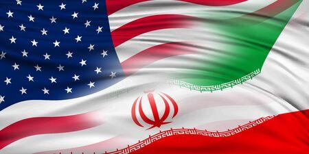 Usa iran flag background Stock Illustratie