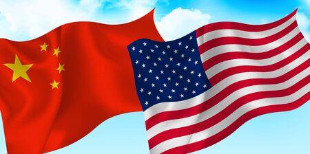 Usa china sky flag