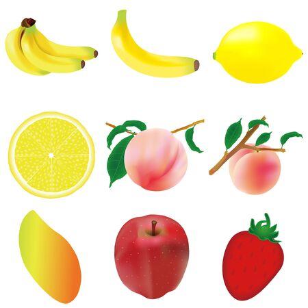Fruit banana peach icon Illustration