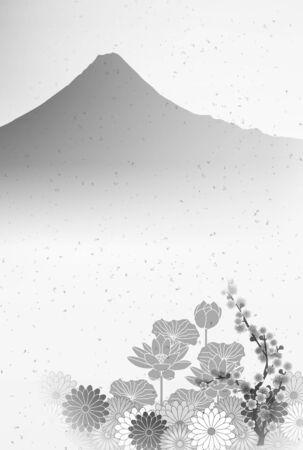 Lotus Fuji mourning Japanese paper background Illustration