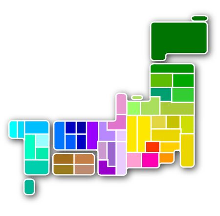 Japan map colorful icon