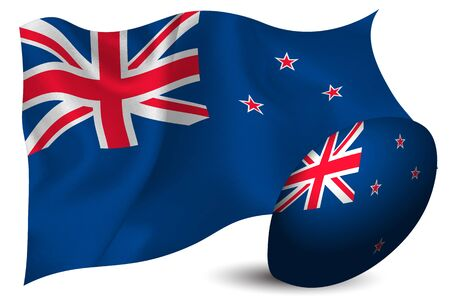 New Zealand rugby ball national flag