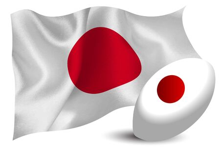 Japan rugby ball national flag