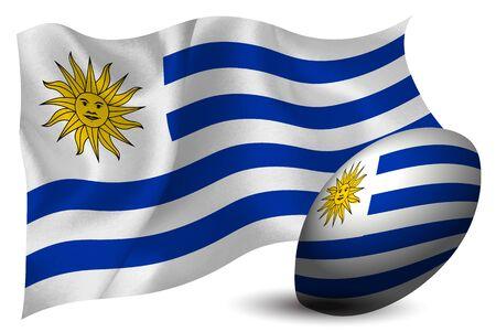 Uruguay rugby ball national flag Фото со стока - 128230846