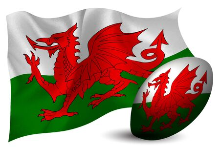 Wales rugby ball national flag