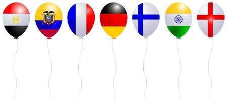 Balloons Flag World Icon Illustration