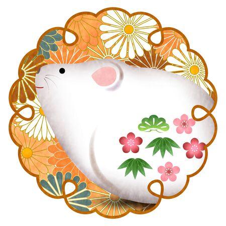 mouse New years card Lucky icon Ilustração