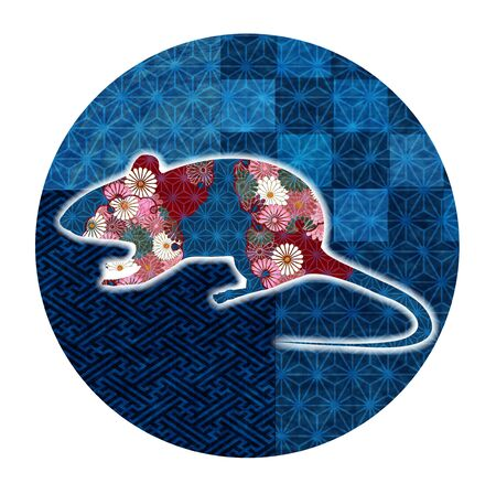 mouse New years card Japanese pattern icon Illustration
