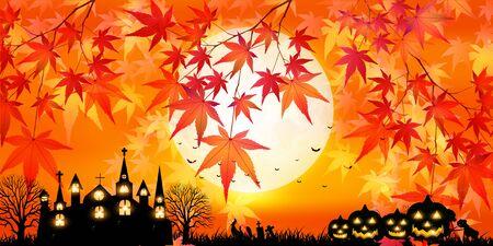 Halloween autumn castle moon background