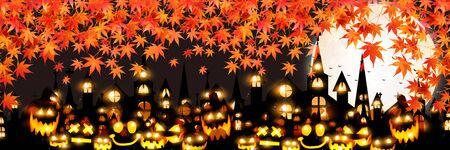 Halloween autumn pumpkin Maple background