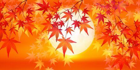 Autumn leaves maple leaves background Ilustracja