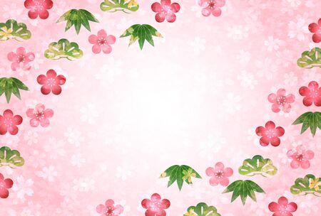 New Years card Shochiku plum cherry background