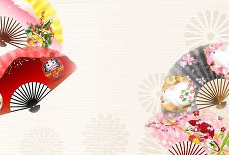 mouse New year's card Japanese pattern background