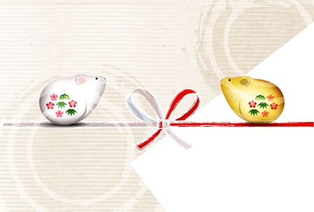mouse New year's card Japanese pattern background Banque d'images - 130791209