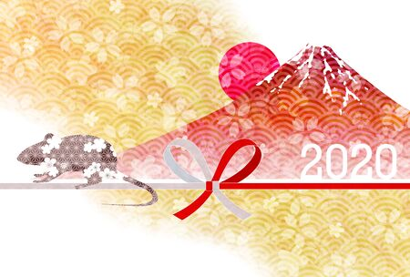 mouse New year's card Japanese pattern background Banque d'images - 130791210