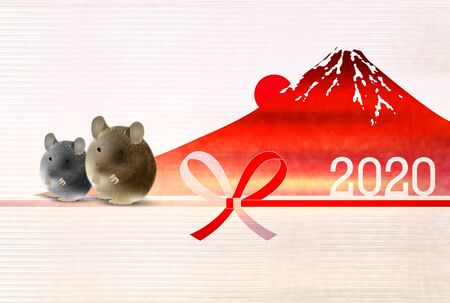mouse New year's card Japanese pattern background Banque d'images - 130791214