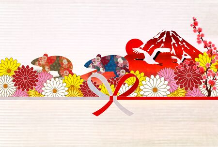 mouse New year's card Japanese pattern background Banque d'images - 130791216