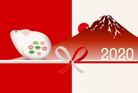 mouse New year's card Japanese pattern background Banque d'images - 130791219