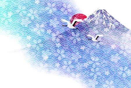 Mount Fuji Cherry Blossom Sunrise New Years Card