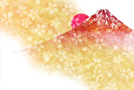 Mount Fuji Cherry Blossom Sunrise New Year's Card Banque d'images - 130791224
