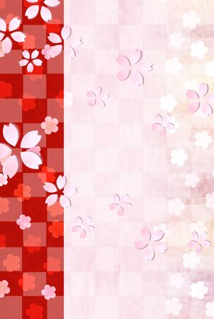 New Years Card Cherry Blossoms Japanese Paper Stock Illustratie