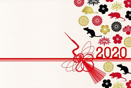 mouse New year's card Japanese pattern background Banque d'images - 131219470