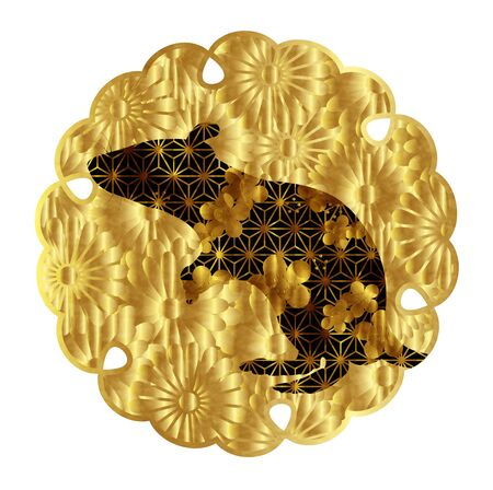mouse New years card Chrysanthemum icon