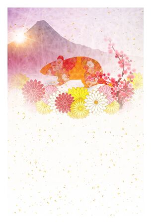 mouse new years card Japanese paper icon