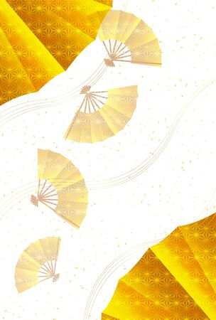 Folding fan gold new years card background