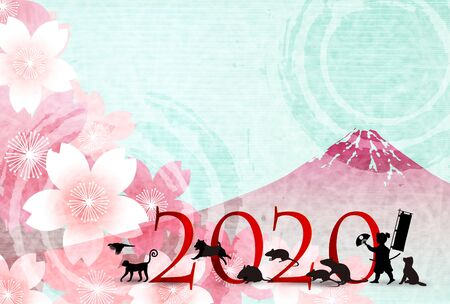 mouse new year's card Japanese paper icon