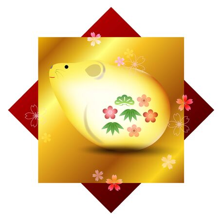 Mouse New Year's Card Luck Icon Çizim