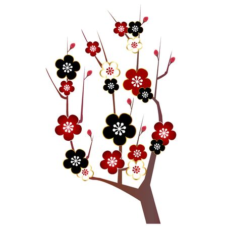 Plum blossom spring icon Illustration