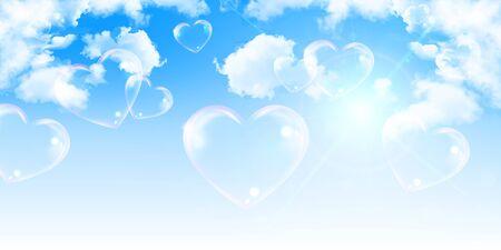 Fondo de nube de cielo de san valentín corazón