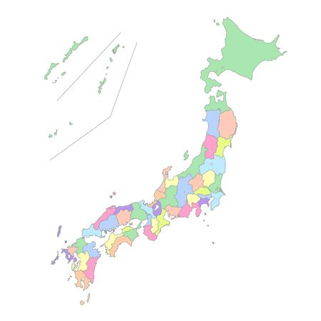 Japan map prefecture three-dimensional icon  イラスト・ベクター素材